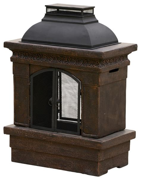 charles outdoor chiminea fireplace copper contemporary