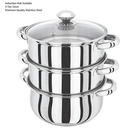 s s steel 3 and 4 tier induction hob steamer cookware pot pan set with glass lid ebay