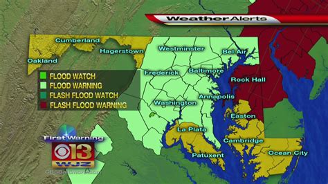 maryland flood map flooding a concern after severe weather through md