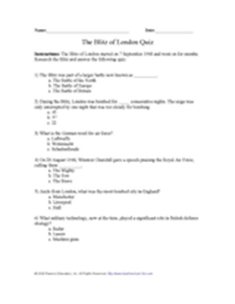quiz questions london blitz of london quiz printable activity 4th 12th grade