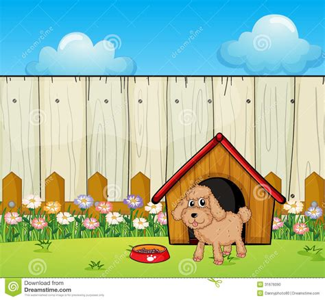 dog fence for inside house a dog with a dog house inside the fence stock photo image 31676090