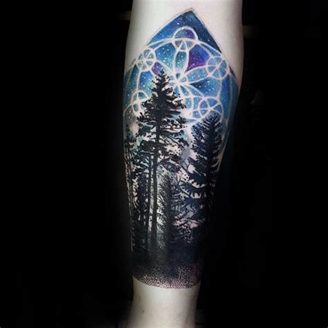 night sky tattoo 100 forest designs for masculine tree ink ideas