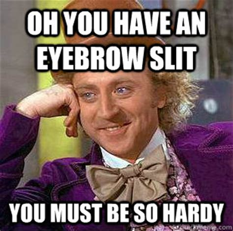 Ed Hardy Meme - oh you have an eyebrow slit you must be so hardy