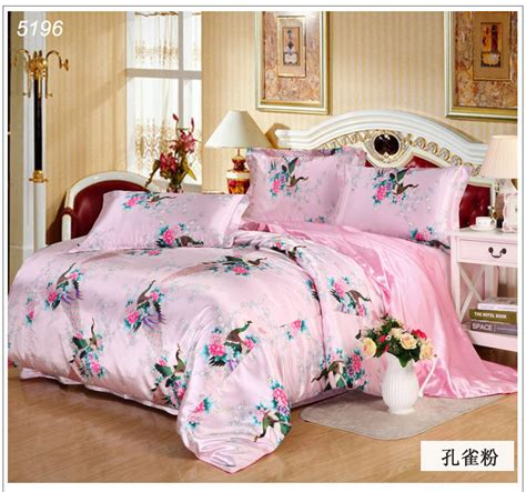 Pink Satin Bedding Sets Peacock Silk Bedding Set Side Silk Bed Linens Tencel Bedding Sets Pink Satin Bed Covers