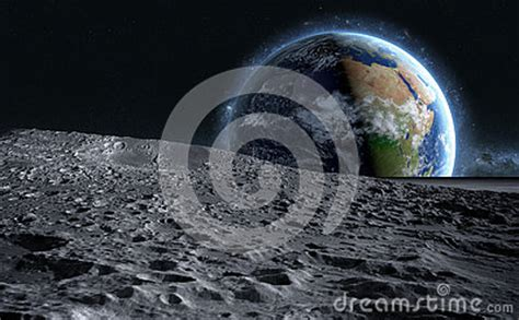 moon surface  space view   planet earth