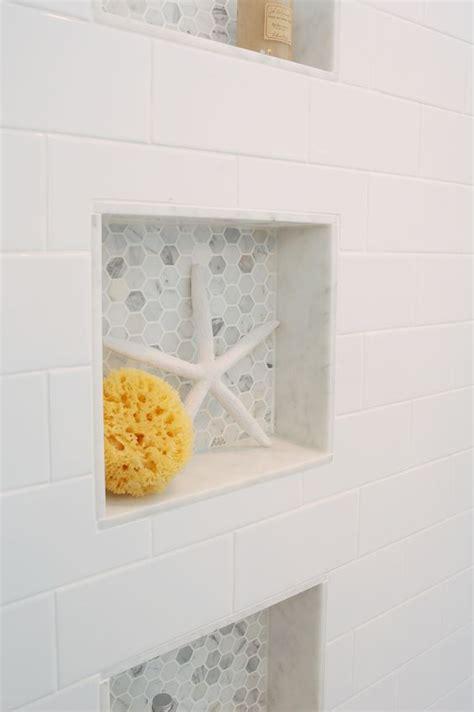 Bathroom Niche Shelves Recessed Shower Shelving Shelves Ledge Niche Hex Tile 1 Quot Hexagon Tile Marble