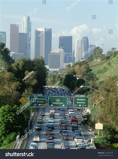 Los Angeles California Search Morning Hour Traffic On Pasadena Freeway Into Downtown Los Angeles California