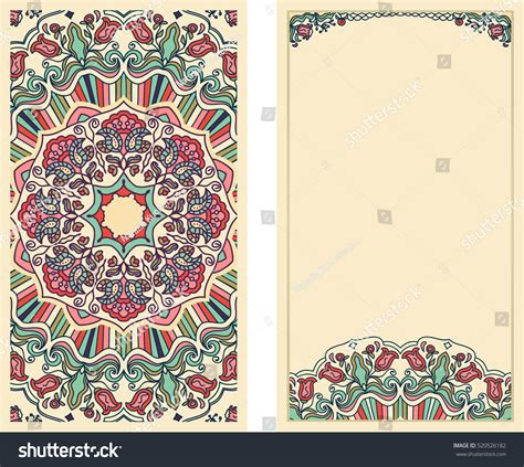 vintage pattern note cards set invitation cards colorful floral pattern stock vector