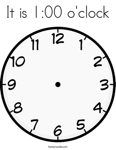 Printable O Clock | it is 1 00 o clock coloring page twisty noodle