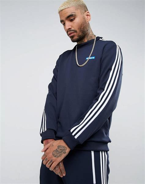 Jaket Adidas Navy Abu Lo Jaket Lacoste Diskon lyst adidas originals osaka tennoji crew neck sweatshirt in navy bs4683 in blue for