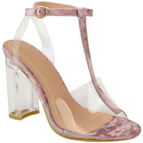 clear sandals heels womens perspex high heels block clear sandals