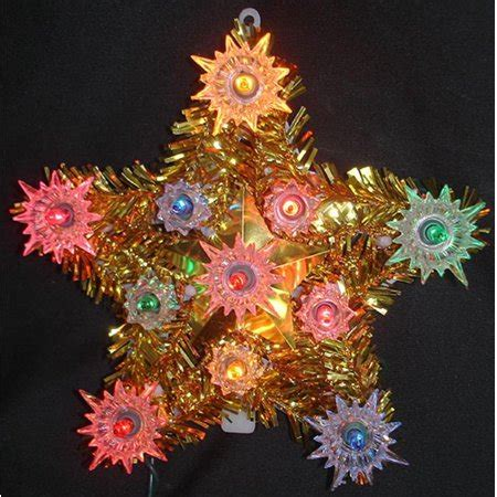 christmas tree toppers at walmart 6 quot lighted gold tinsel tree topper multi lights walmart