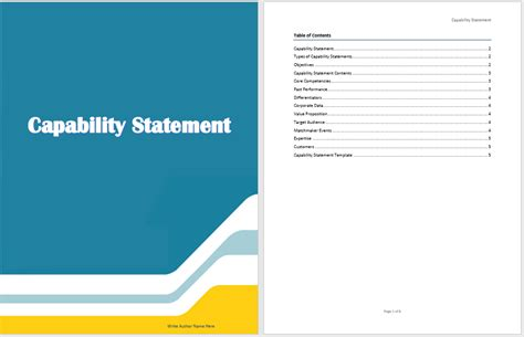 capability statement template microsoft word templates