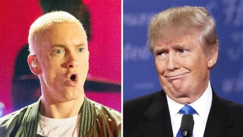 donald trump eminem trump s a scream in this stack of newspapers boing boing