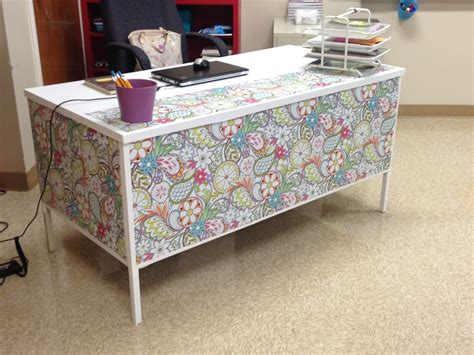 contact paper desk makeover my desk at school this year wrapping paper white duct