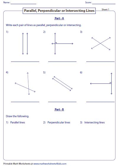 Parallel And Perpendicular Lines Worksheet Pdf by Parallel Perpendicular And Intersecting Lines Worksheets