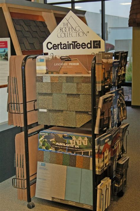 A CertainTeed display at the Scudder Roofing Showroom in