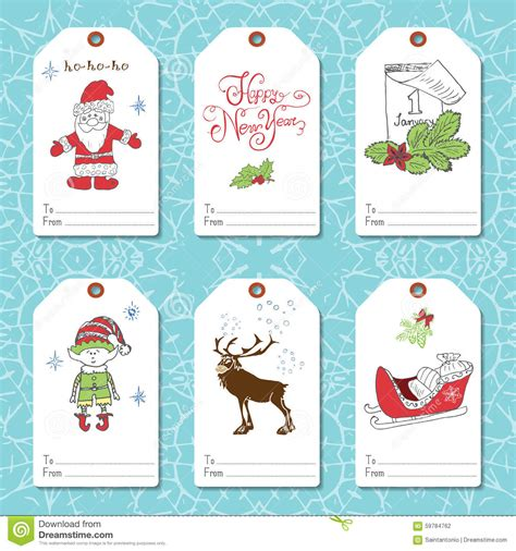 new year 2016 gift tag set of new year gift tags vector template