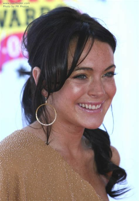 round face high forhead hairstyles and cowslick lindsay lohan long and bang less short hairstyle 2013