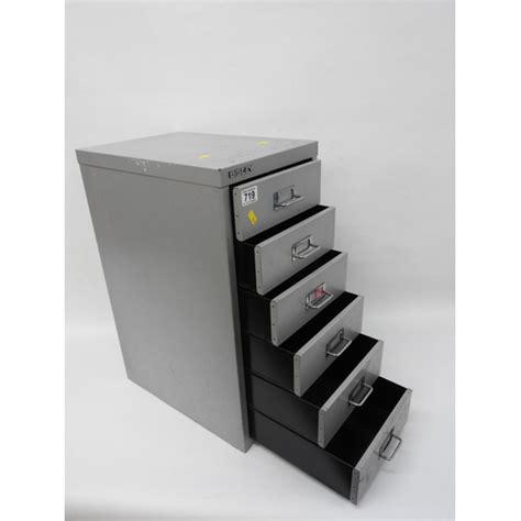 bisley six drawer metal filing cabinet