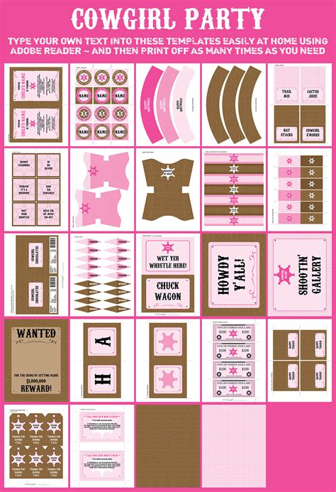 printable cowgirl party decorations cowgirl party printables invitations decorations