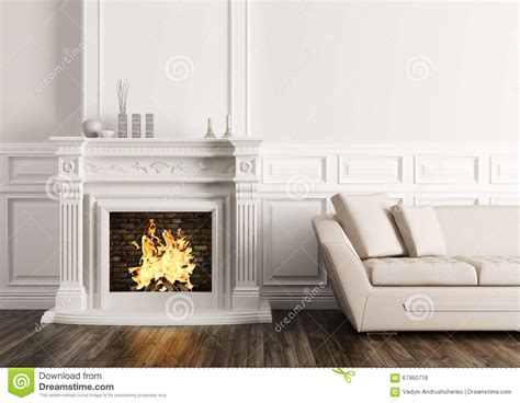Fireplace Render by Classic Interior With Fireplace And Sofa 3d Render Stock