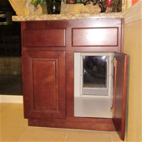 house door with dog door through the cabinet hidden dog door could put a latch on the door to keep dog out of