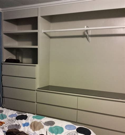 ikea malm bed hacked ikea pinterest ikea malm bed ikea hack built in wardrobe using malm dressers laundry