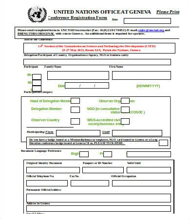 word form templates 10 printable registration form templates pdf doc
