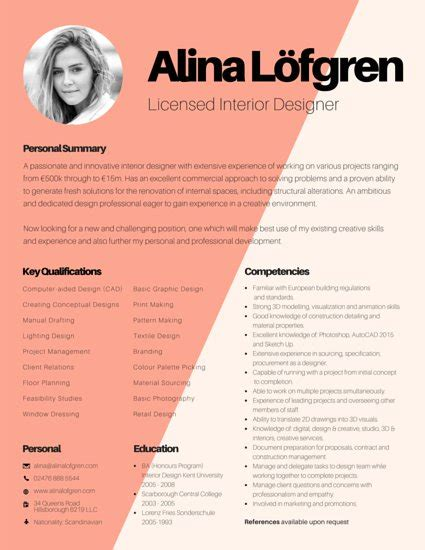 Interior Design Resume Template by Creative Interior Designer Resume Templates By Canva