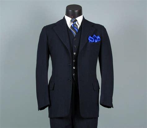 vintage mens suit 1940s navy wool pinstripe 3 three mens