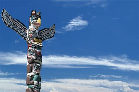 pole background totem wood pole in the blue cloudy background custom