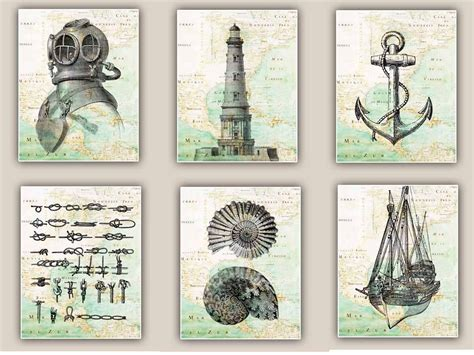 vintage nautical bathroom nautical art prints antique map east coast america set of