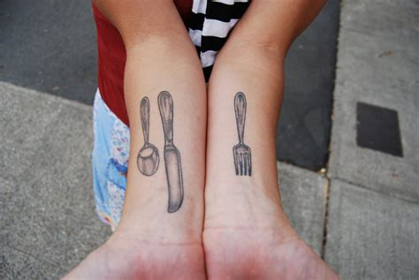 fork tattoo small fork and spoon on both arm sleeves for