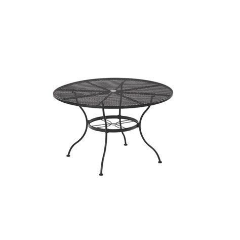 Patio Table Lowes Shop Garden Treasures Davenport Black Patio Dining Table At Lowes