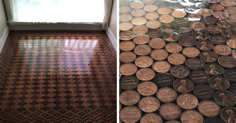 Pennies Floor by Uses 13 000 Pennies To Renovate Floor And Turn