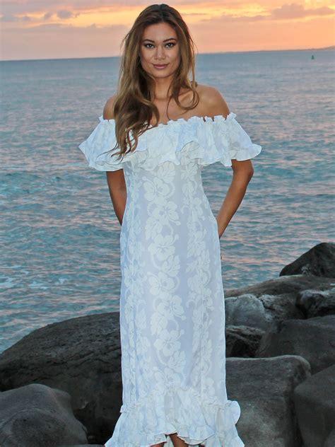 Hawaiian Wedding Dresses by Wedding White Hibiscus Ruffle Muumuu