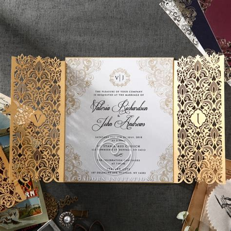 wedding invite design uk gate fold gold card imperial style monogramed