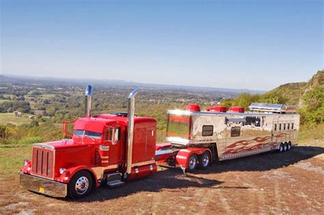 red peterbuilt pulling horse trailer Keith Everett's Peterbilt and Trailer American Rigs on