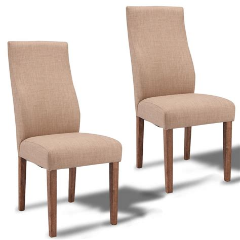 set of 2 fabric upholstered high back armless dining