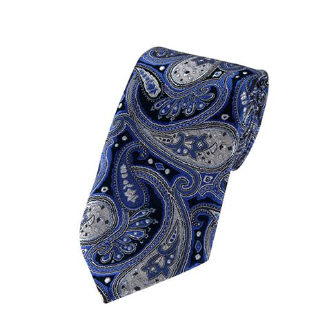 l 16 royal blue silver and black floral paisley woven
