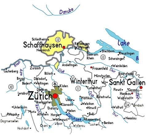major cities in switzerland map schaffhausen map