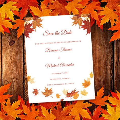 thanksgiving cards word template falling leaves printable save the date card autumn or