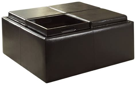 ottoman with 4 tray tops 5 best square ottoman add a touch of elegance to your