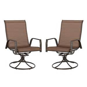 Patio Chair Set Of 2 Outdoor Swivel Chair Set Of 2 Brown Sling Patio Furniture Porch Seats Lawn Deck Ebay