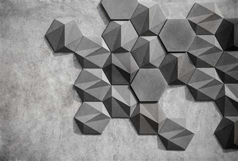 Concrete Origami - san geometric concrete wall decoration by bentu design