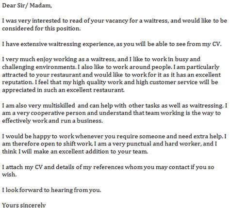 cover letter for waiter index of wp content uploads 2012 07