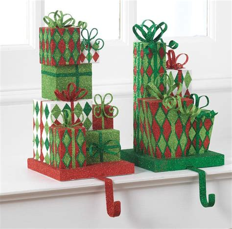 raz glittered present christmas stocking holder set of 2