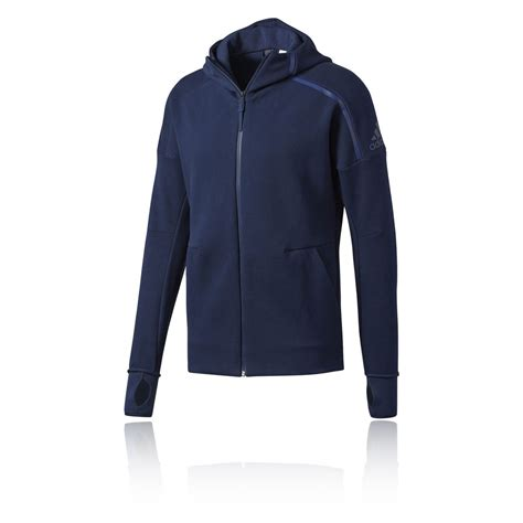 Jaket Running Hoodi Zipper adidas zne fz mens blue sleeve zip running hooded jacket top ebay
