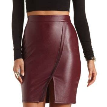 faux leather envelope skirt by from russe